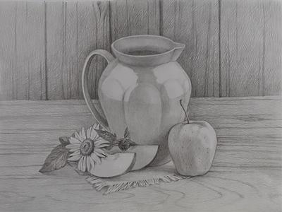 Натюрморт карандашом лето яблоко бумага карандаш академический натюрморт