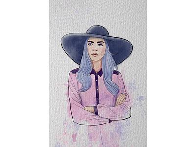 """""""Акварельный портрет"""" цифровая акварель шляпа акварель портрет"""