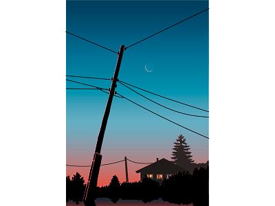 Вечер вектор иллюстрация розовый закат провода на фоне неба природа небо на закате небо небо и луна закат деревня деревенский дом вечернее небо вечер вечер за городом