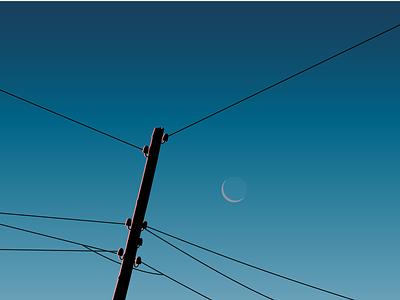 Геометрическое небо провода на фоне неба небо и луна вечернее небо вечер за городом деревня вектор иллюстрация небо за городом ночное небо месяц в небе луна в небе закат небо
