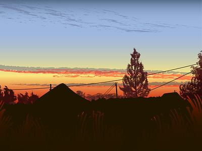 Деревня облака вектор иллюстрация пейзаж небо природа лето закат вечер село деревня за городом