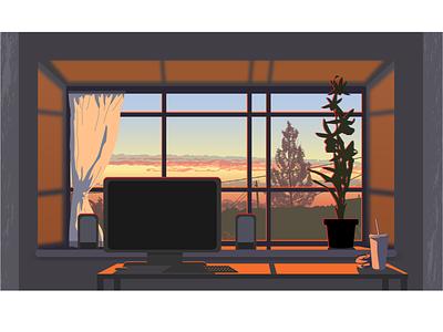 Вид из окна оранжевый свет вид из окна компьютерный стол комната вектор иллюстрация фон интерьер окно небо вечер закат
