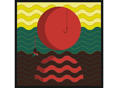 На закате отражение крючок вектор иллюстрация волны вода закат небо река поплавок солнце рыбалка