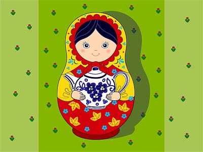 Матрешка с чайником орнамент вектор иллюстрация народная веселая детская игрушка русская деревянная кукла матрешка