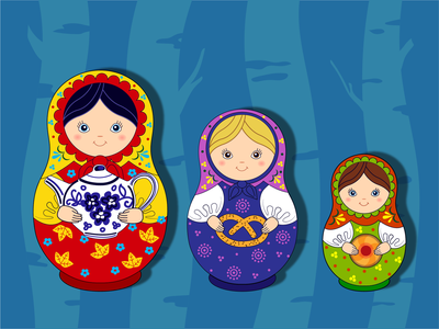 Матрешки платье узор наряд вектор иллюстрация детская милые веселые народные сестры игрушка кукла русская матрешка