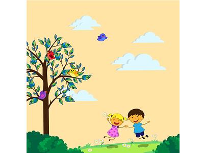 Ура! Лето! вектор иллюстрация друзья девочка мальчик радость счастье поляна парк птицы каникулы прогулка солнце лето дети