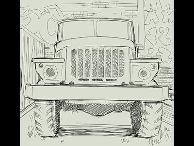 День 1 - линейная зарисовка. автомобиль грузовик рисунок линия карандаш эскиз набросок