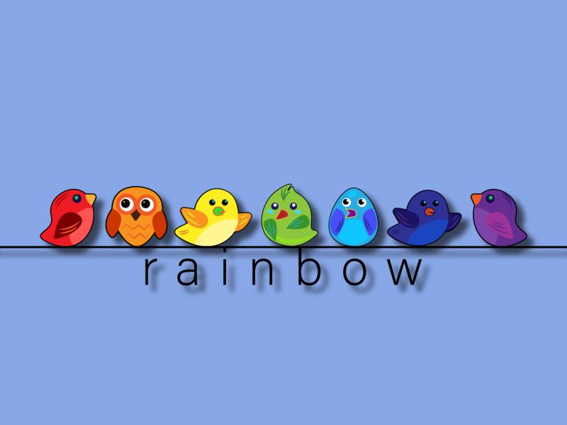 Радуга вектор векторная графика иллюстрация стиль птенцы детский дети обучение семь цвета птички радуга