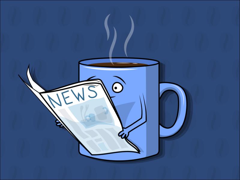 Утро вектор иллюстрация персонаж читает пар горячий новости газета кофе чашка утро