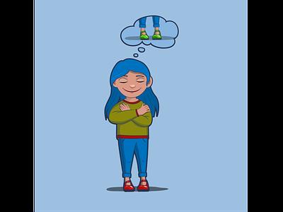 Мечтающая девочка вектор иллюстрация ожидание предвкушение радость детство голубые волосы новые туфли девочка мечта