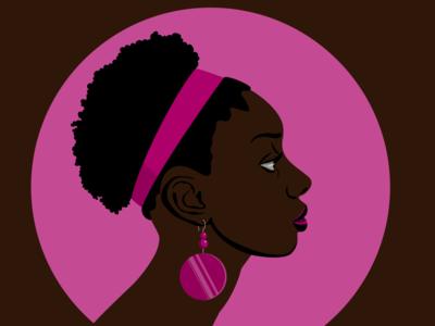 Розовая серьга