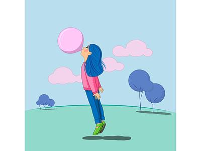 Как создаются облака вектор векторная графика иллюстрация детство девочка облака жвачка