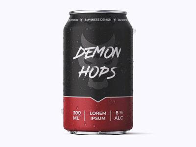 Beer Can Design Demon Hops minimal typography modern designer design creativity creative label design brewery beer label lable can beer can beer