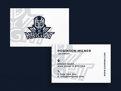 Business Card Kright minimal typography modern designer design creativity creative visiting card design visit card gaming business card businesscard business card design