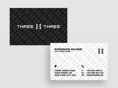 Business Card Three Three graphic  design minimal typography modern designer design creativity creative visiting card design card card design businesscard business card design