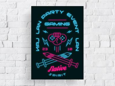 Poster Design Gaming game glow graphic  design typography modern designer design creativity creative poster art gaming poster design poster