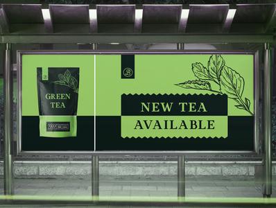 Banner Design Green Tea graphic  design minimal typography modern designer design creativity creative green tea package design banner design banner