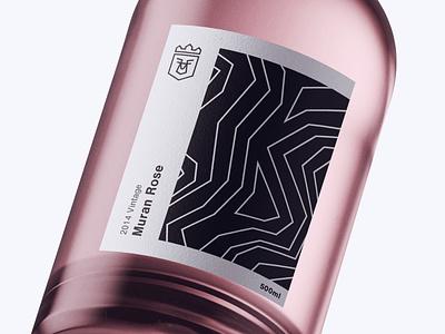 Bottle Design Muran Rose minimal typography modern designer design creativity creative wine label label wine bottle wine label design bottle design bottle