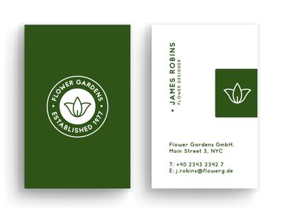 Business Card Flower Gardens minimal typography modern designer design creativity creative card design card business card business card design businesscard business cards