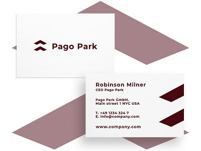 Business Card Pago Park minimal typography modern designer design creativity creative visiting card visit card businesscard business card design business cards business card business