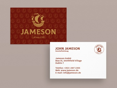 Business Card Jameson graphic artist graphic  design typography modern designer design creativity creative whiskey business card design business cards businesscard business card