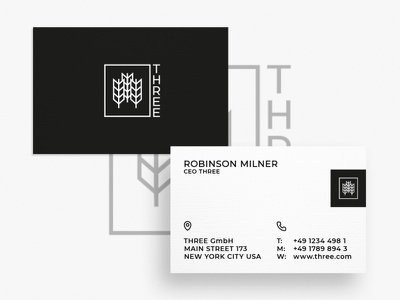 Business Card THREE minimal typography modern designer design creativity creative branding brand brand identity business card design business cards business card businesscard