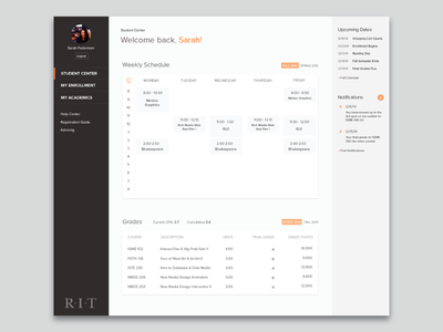 RIT SIS Design dashboard ui schedule ux academic photoshop