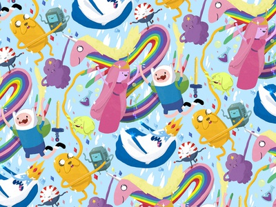 Adventure Time Pattern adventure time pattern finn illustration princess bubblgum jake the dog lumpy space princess