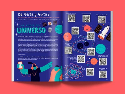 PrincipiaKids: Las voces del universo planets article illustration article kids magazine kids illustration astronomy universe science kids magazine editorial illustrator vector character illustration digital