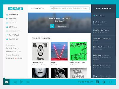 Saga Webapp music ui ux webapp streamer