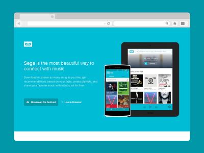 Landing Page for Saga ui webpage app landing music
