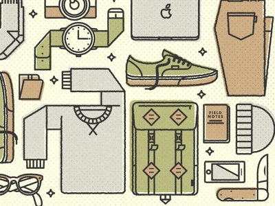 Going To Work vector stroke line art style knoll knolling flat