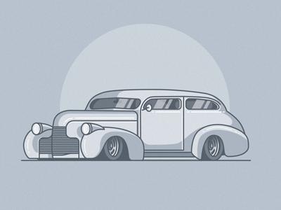 1940 automobile auto vehicle icon flat stroke chevy car