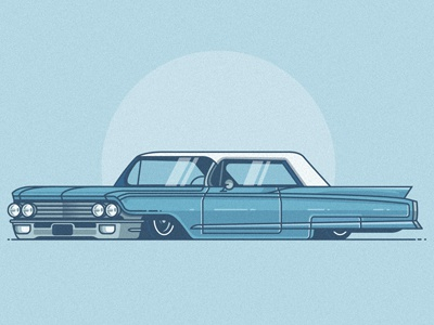 Cadillac automobile auto vehicle icon flat stroke chevy car