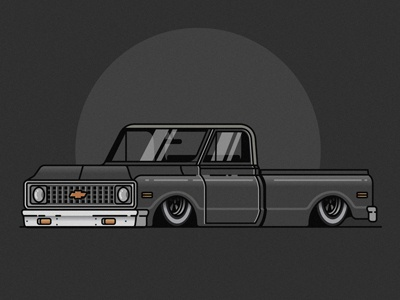 Truck automobile auto vehicle icon flat stroke chevy car