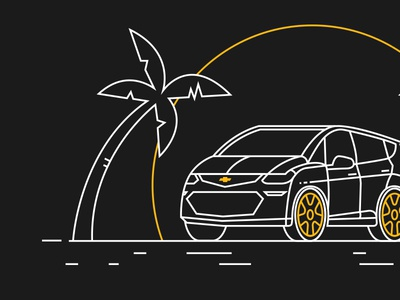 Maven 1 chevy sun beach palm car clean line stroke
