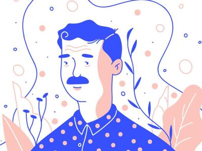 Mustache blue pink mustache plants man