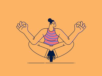 Zen illustration #1 woman yoga illustration vibrant flat stroke vector zen