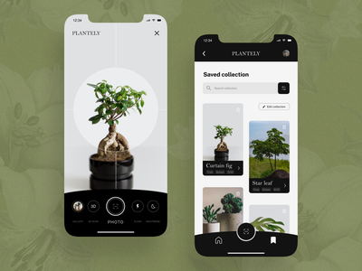 PART 2 - Plantely - app UI mobile app nature flower plant mobile minimal black ux ui design modern