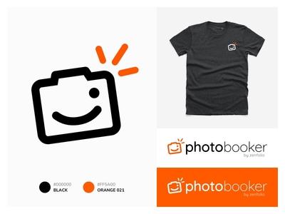 PhotoBooker Identity winking wink photobooker zenfolio character flash smile camera icon photography logo identity logo design identity e commerce logo illustration