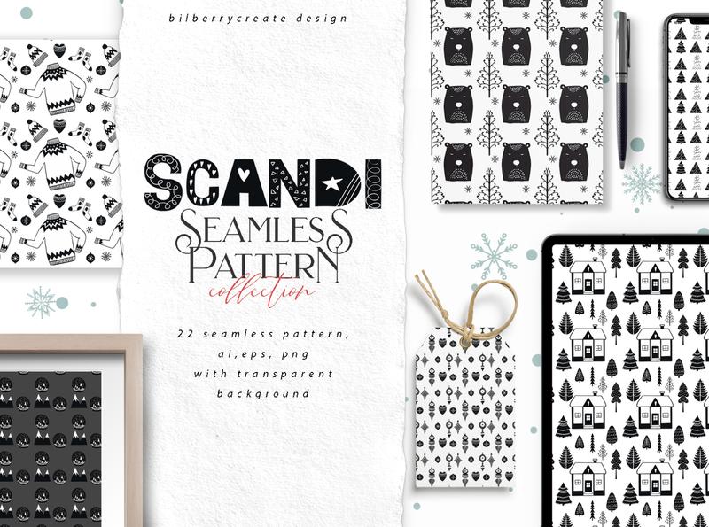 Scandi Seamless Pattern scandinavian style winter cozy vector illustration design white black seamless pattern scandinavian