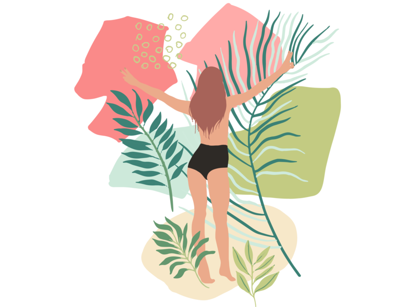Jungle Girls plant vector tropics splashes and design elements. seamless pattern compositions jungle plants girls