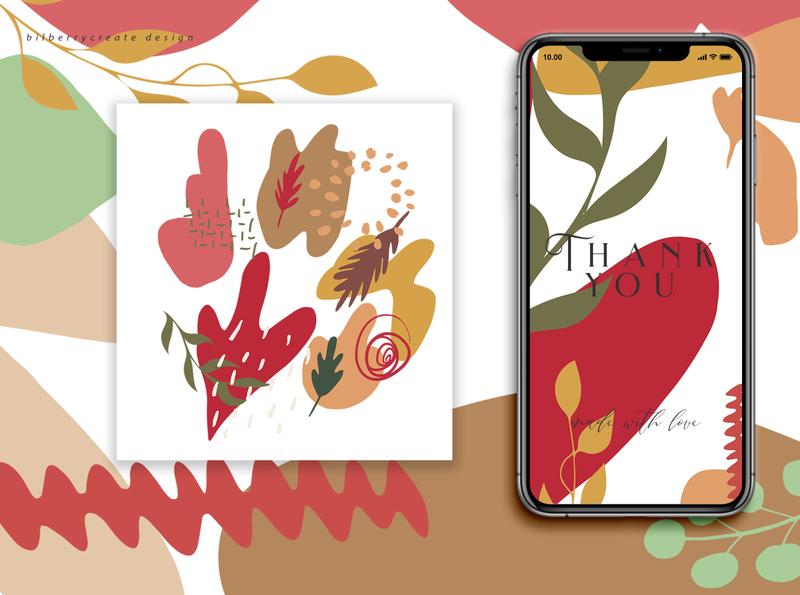 Autumn Colored made with love❤️ illustration invitation