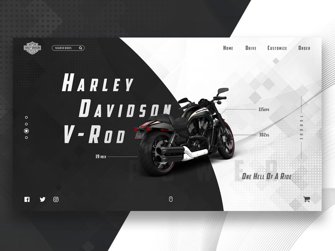 Harley Davidson UI ux vector website minimal flat web typography ui design illustration
