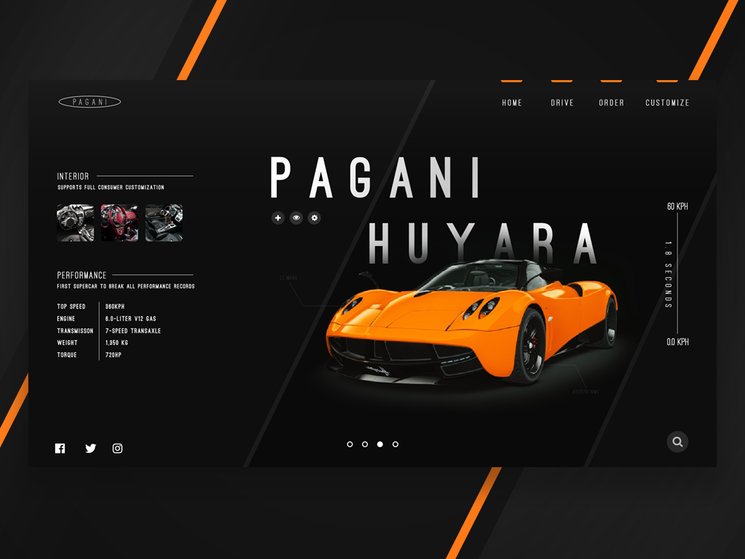 Pagani Huayra UI ux illustrator website web ui typography minimal illustration flat design