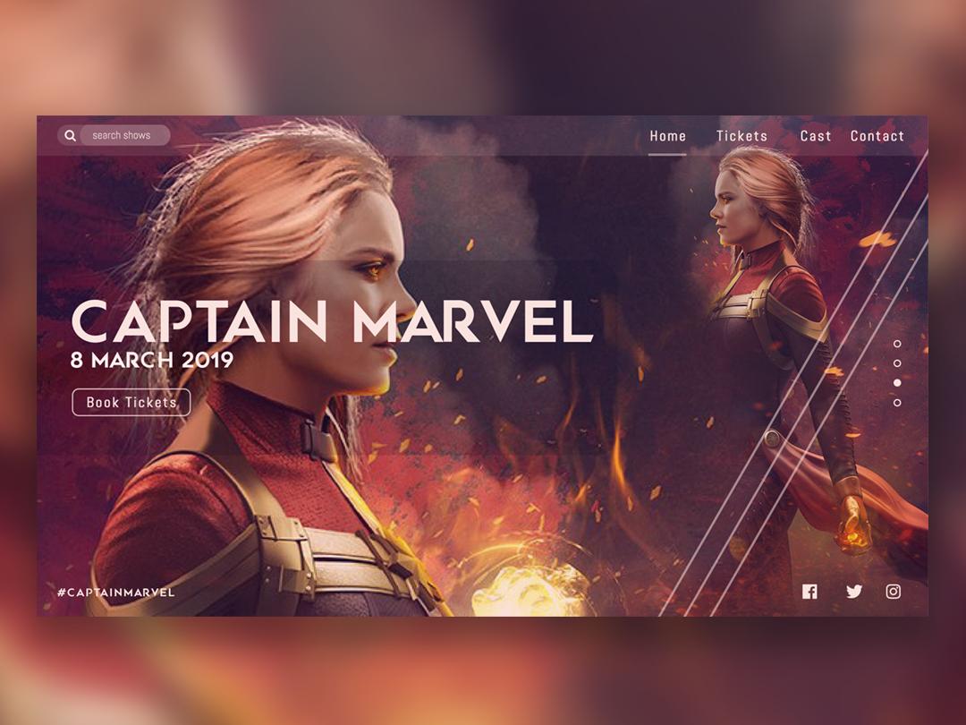 Captain Marvel UI avengers captain marvel vector illustrator website web flat ui typography minimal illustration design