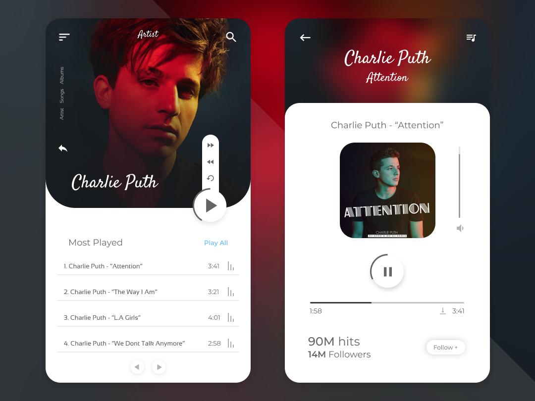 Music Player UI music ui songs music app ui music app vector illustrator web ui typography minimal illustration flat design