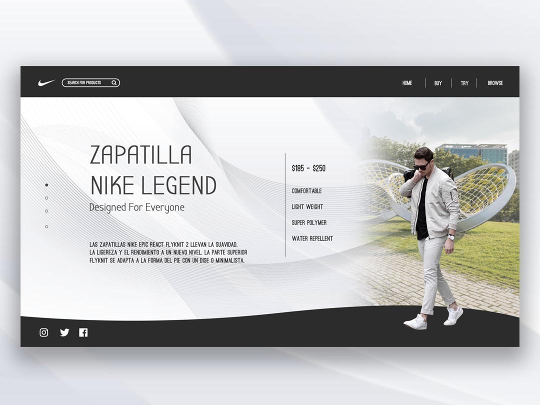 Nike Zapatilla UI website vector web ui typography minimal illustration flat design