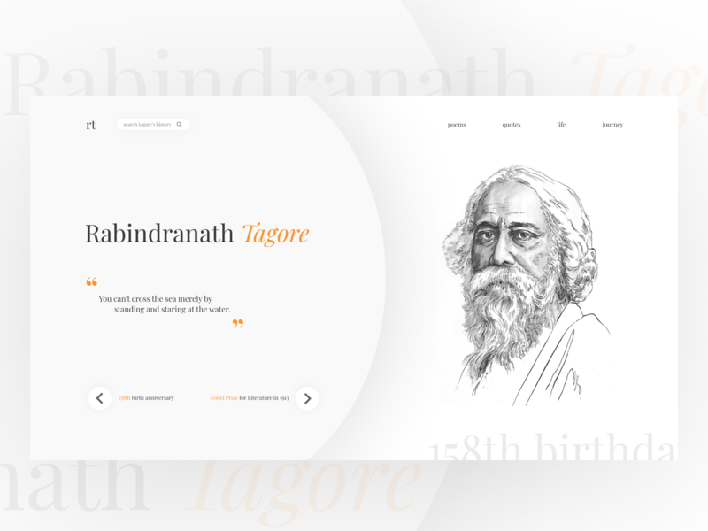 Rabindranath Tagore UI Design rabindranath ux website web ui typography minimal illustration flat design