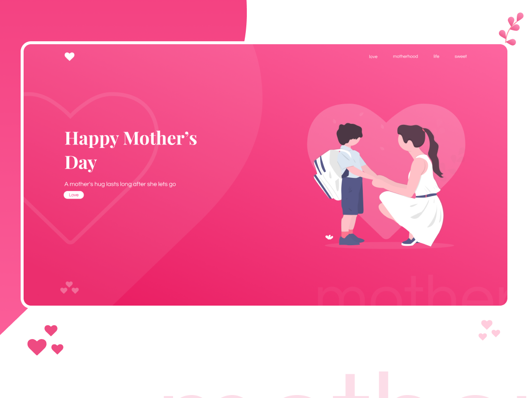 Mother's Day Special UI Design mockup mothersday mothers illustrator website ui web typography minimal illustration flat design